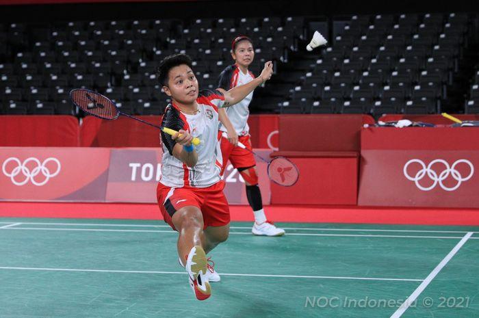 Pasangan ganda putri Indonesia, Greysia Polii/Apriyani Rahayu, pada perempat final Olimpiade Tokyo 2020 di Musashino Forest Plaza, Jepang, Kamis (29/7/2021).