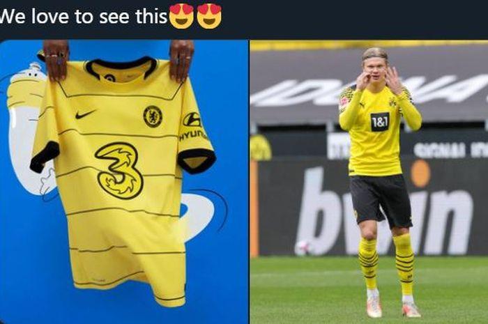 Kostum baru Chelsea untuk laga tandang musim 2021-2022 (kiri) dikaitkan dengan isu klub merekrut Erling Haaland.