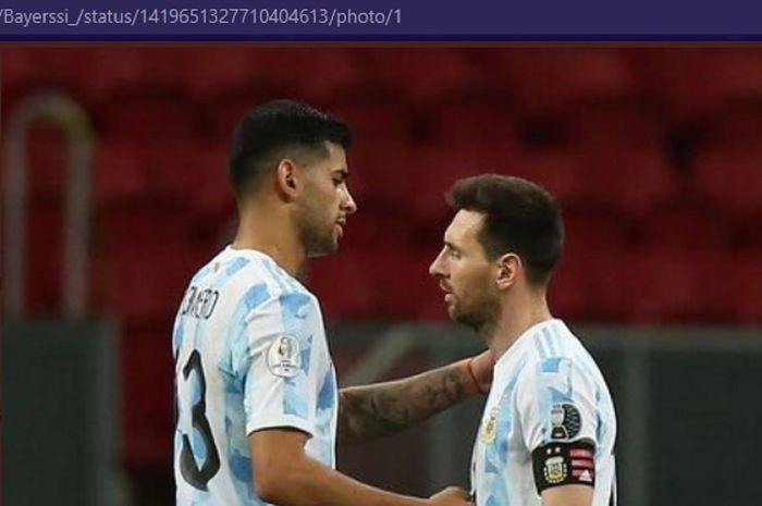 Cristian Romero dan Lionel Messi saat memperkuat timnas Argentina
