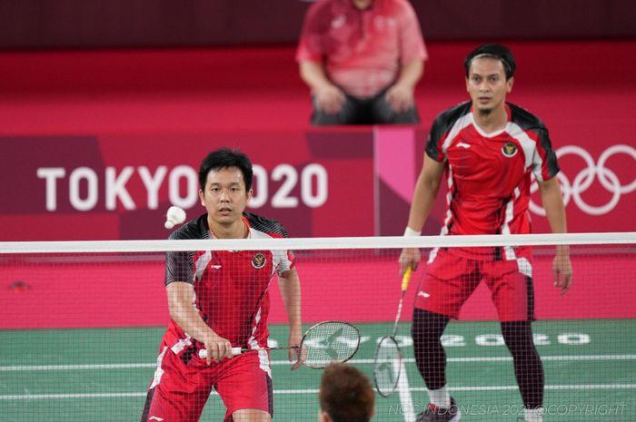 Pasangan ganda putra Indonesia, Mohammad Ahsan/Hendra Setiawan, pada perebutan medali perunggu Olimpiade Tokyo 2020 di Musashino Forest Plaza, Sabtu (31/7/2021).