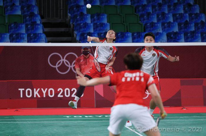 Pasangan ganda putri Indonesia, Greysia Polii/Apriyani Rahayu, berlaga pada final Olimpiade Tokyo 2020 di Musashino Forest Plaza, Senin (2/8/2021).
