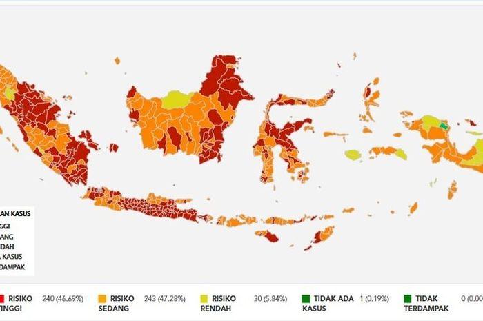 Peta risiko Covid-19 di Indonesia per 1 Agustus 2021.