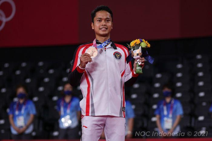 Tunggal putra Indonesia, Anthony Sinisuka Ginting meraih medali perunggu di Olimpiade Tokyo 2020, Senin (2/8/2021).