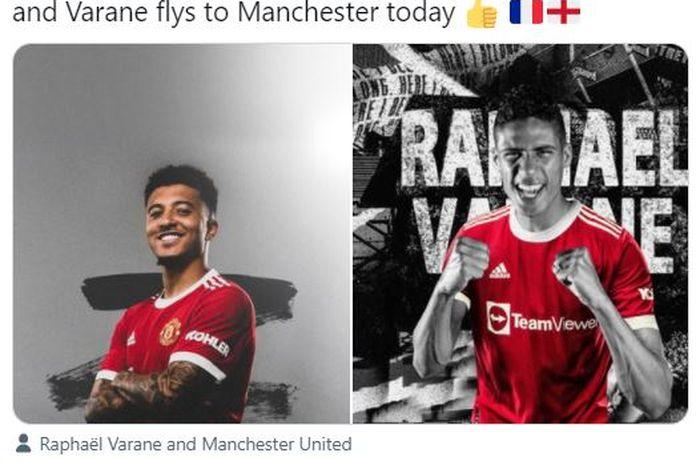 Jadon Sancho (kiri) dan Raphael Varane (kanan) akan bermain bersama di Manchester United mulai musim 2021-2022.