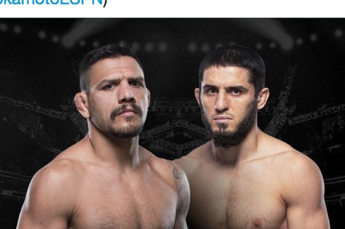 Rafael dos Anjos (kiri) dan Islam Makhachev (kanan) dijadwalkan bentrok  dalam duel kelas ringan di UFC 267 pada 30 Oktober mendatang.
