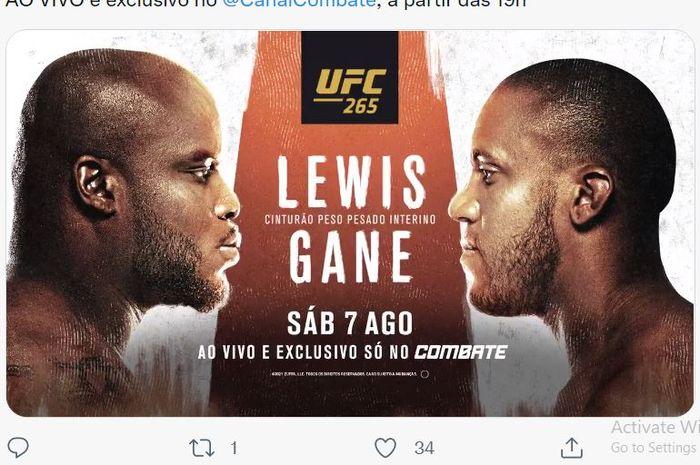 Poster bentrok Derrick Lewis (kiri), dan Ciryl Gane (kanan) pada UFC 265 yang mentas Minggu (8/8/2021).