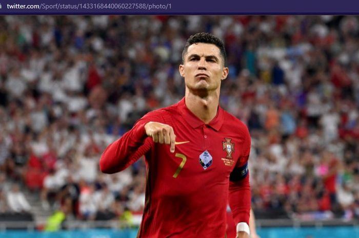 Megabintang timnas Portugal, Cristiano Ronaldo, merayakan gol ke gawang timnas Irlandia dalam laga Kualifikasi Piala Dunia 2022 zona Eropa pada Kamis (2/9/2021) pukul 01.45 WIB di Stadion Algarve.