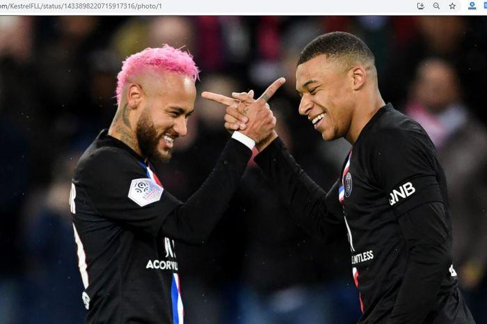 Duo penyerang Paris Saint-Germain, Neymar Junior dan Kylian Mbappe.