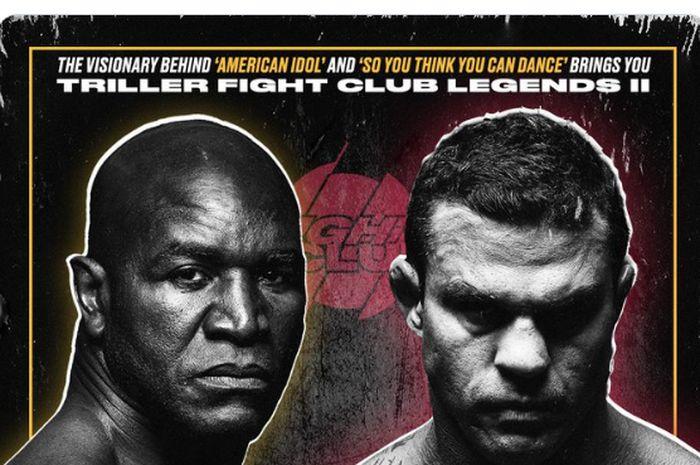 Poster pertandingan tinju antara Evander Holyfield vs Vitor Belfort yang akan digelar di Florida, Amerika Serikat, Sabtu (11/9/2021).