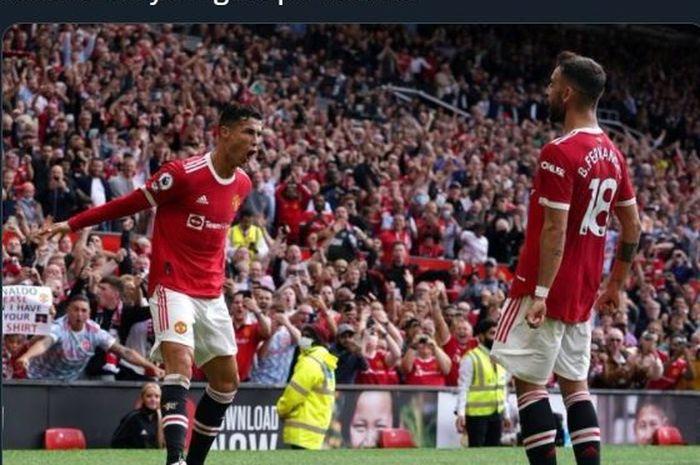 Cristiano Ronaldo merayakan golnya untuk Manchester United ke gawang Newcastle United dalam lanjutan Liga Inggris di Old Trafford, 11 September 2021.