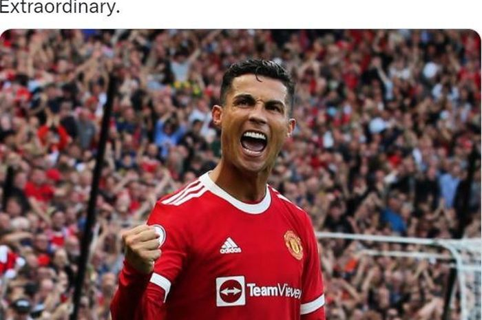 Megabintang Manchester United, Cristiano Ronaldo, merayakan gol ke gawang Newcastle United dalam laga Liga Inggris di Stadion Old Trafford, Sabtu (11/9/2021).