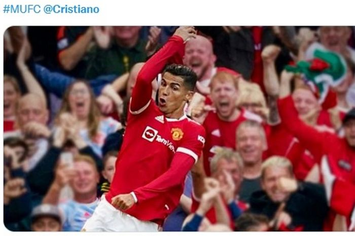 Cristiano Ronaldo berselebrasi usai menjebol gawang Newcastle United dalam matchday keempat Liga Inggris 2021-2022.