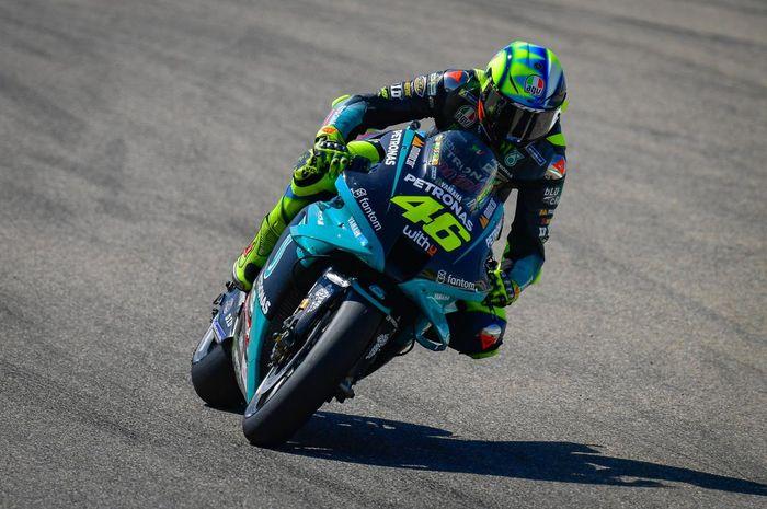 Pembalap Petronas Yamaha SRT, Valentino Rossi, pada balapan MotoGP Aragon 2021 di Sirkuit MotorLand Aragon, Minggu (12/9/2021).