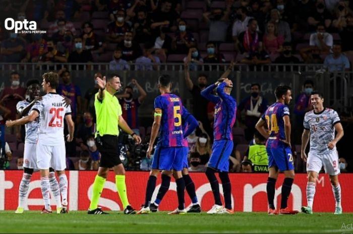 Barcelona menjamu Bayern Muenchen dalam matchday pertama Grup E Liga Champions 2021-2022 di Stadion Camp Nou, Selasa (14/9/2021) waktu setempat.