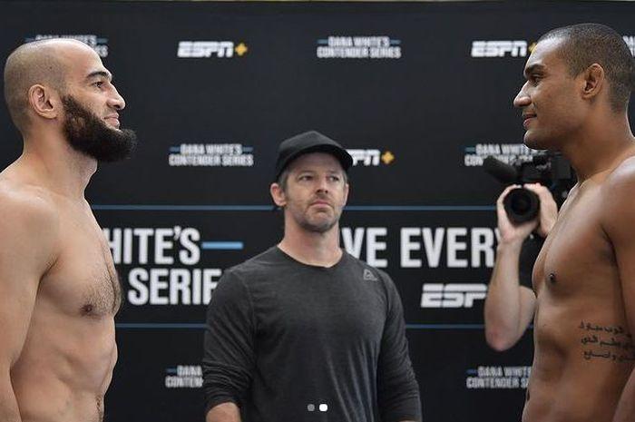 Albert Duraev (kiri), jagoan anyar UFC yang mirip gabungan antara, Khamzat Chimaev dan Khabib Nurmagomedov.