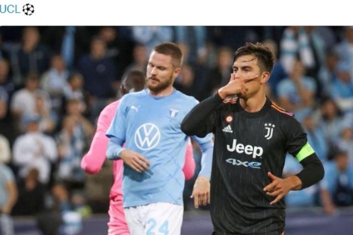 Selebrasi striker Juventus, Paulo Dybala, usai menjebol gawang Malmo.