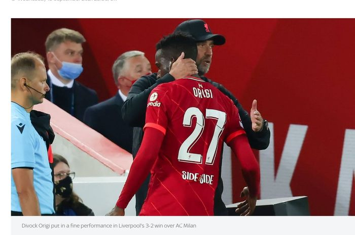 Penyerang Liverpool, Divock Origi, ketika ditarik keluar oleh Juergen Klopp dalam laga kontra AC Milan, Kamis (16/9/2021) dini hari WIB.