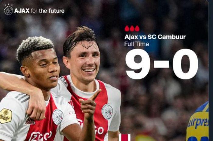 Ajax Amsterdam menghancurkan Cambuur dalam lanjutan Liga Belanda, 18 September 2021.