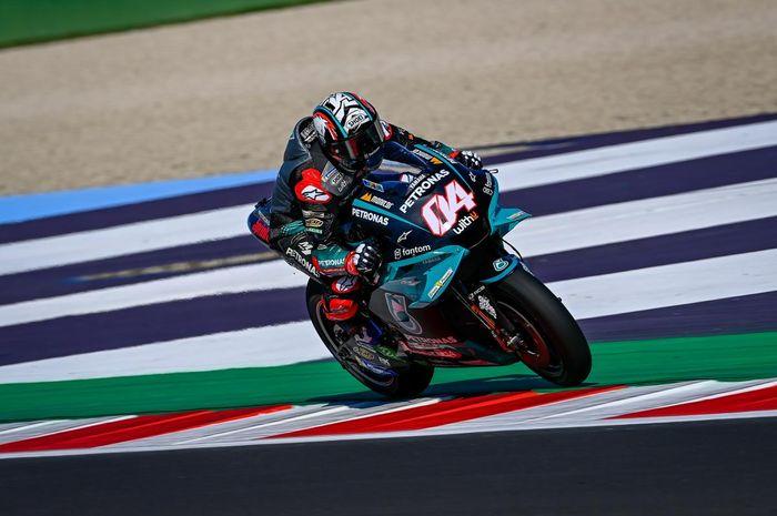 Pembalap Petronas Yamaha SRT, Andrea Dovizioso, pada balapan MotoGP San Marino di Sirkuit Misano, Minggu (19/9/2021).