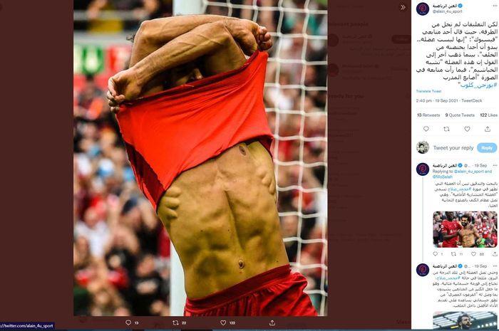 Foto Mohamed Salah yang membuka kaus saat berselebrasi merayakan golnya ke gawang Crystal Palace pada Sabtu (18/9/2021) lalu.