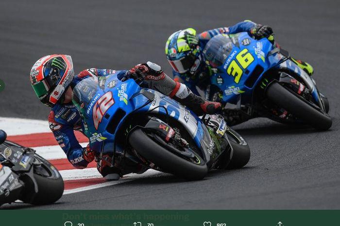Duo pembalap MotoGP dari tim Suzuki Ecstar, Joan Mir (36), dan Alex Rins (42).