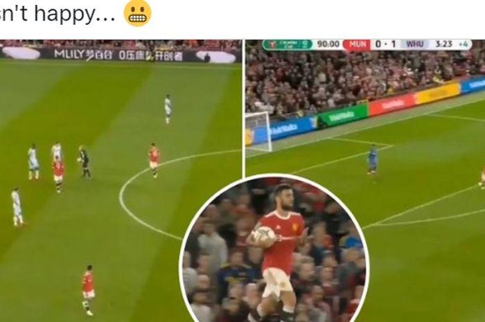 Gelandang Manchester United, Bruno Fernandes, menunjukkan rasa frustasinya dengan nekat mencuri drop ball West Ham United demi mencetak gol di Piala Liga Inggris 2021-2022.