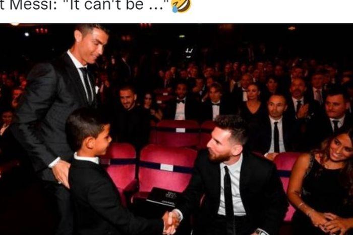 Anak Cristiano Ronaldo sempat tak percaya bahwa dirinya bertemu Lionel Messi karena sang megabintang berpostur pendek.