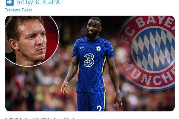 Bek Chelsea, Antonio Ruediger, kabarnya diminati oleh raksasa Bundesliga, Bayern Muenchen.
