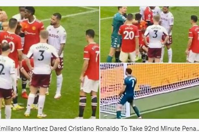 Kiper Aston Villa, Emiliano Martinez, tertangkap kamera menantang Cristiano Ronaldo untuk mengeksekusi tendangan penalti.