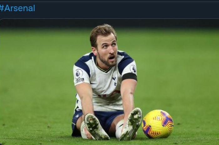 Ekspresi penyerang Tottenham Hotspur, Harry Kane.