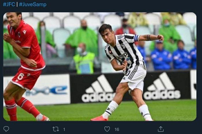 Striker Juventus, Paulo Dybala, mencetak gol untuk membawa timnya unggul pada laga lanjutan Liga Italia melawan Sampdoria di Allianz Stadium, Minggu (26/9/2021).