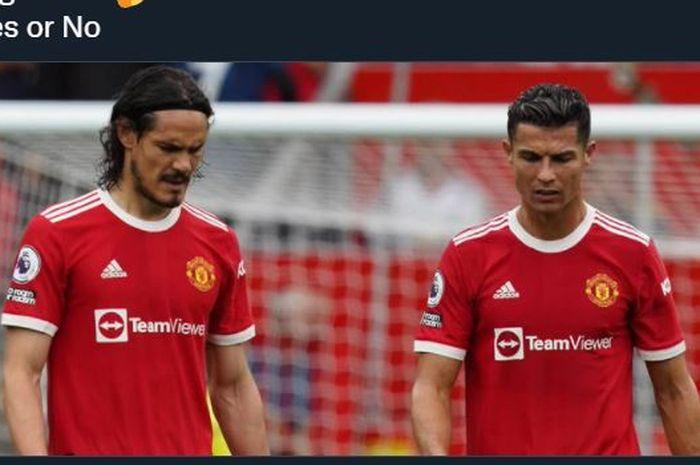 Dua penyerang Manchester United, Edinson Cavani dan Cristiano Ronaldo.