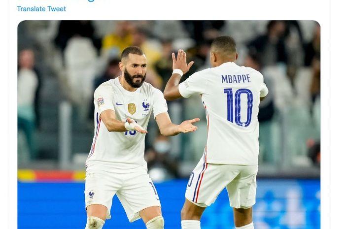 Karim Benzema dan Kylian Mbappe merayakan gol ke gawang Belgia pada semifinal UEFA Nations League, Jumat (8/10/2021) dini hari