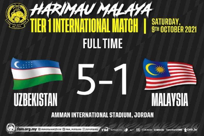 Untuk kedua kalinya Timnas Malaysia dibantai dalam uji coba internasional di Amman, Yordania.