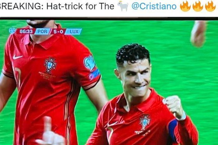Timnas Portugal habisi tim tamu, Cristiano Ronaldo mengukir sejarah baru di dunia sepak bola internasional.