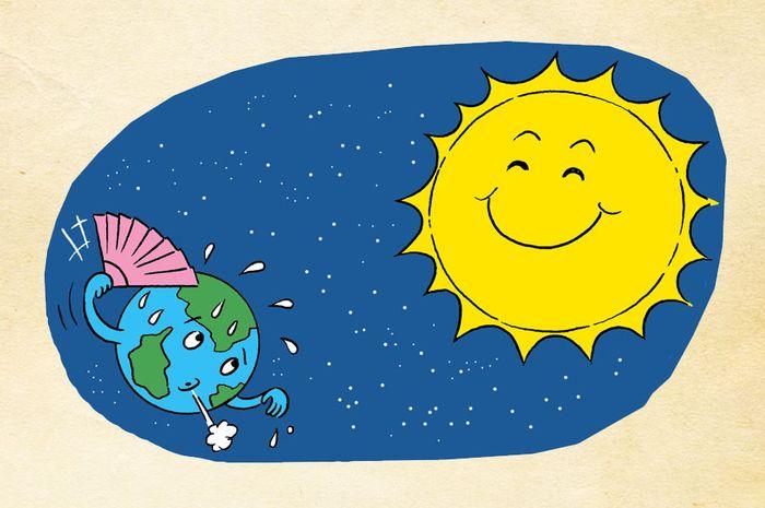 Saat musim panas, Kutub Utara akan condong ke arah matahari.