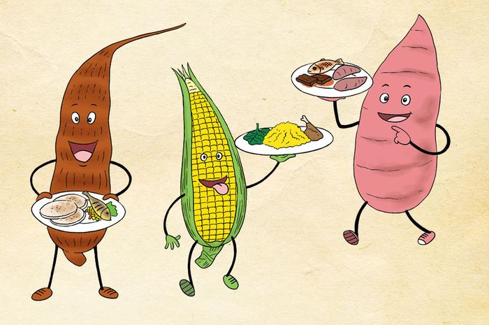Singkong, jagung, dan ubi jadi makanan pokok di Afrika.