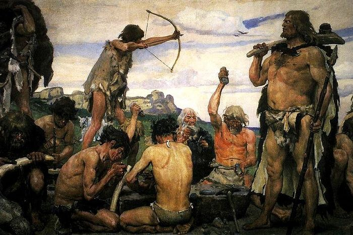 Ilustrasi lukisan Zaman Batu.