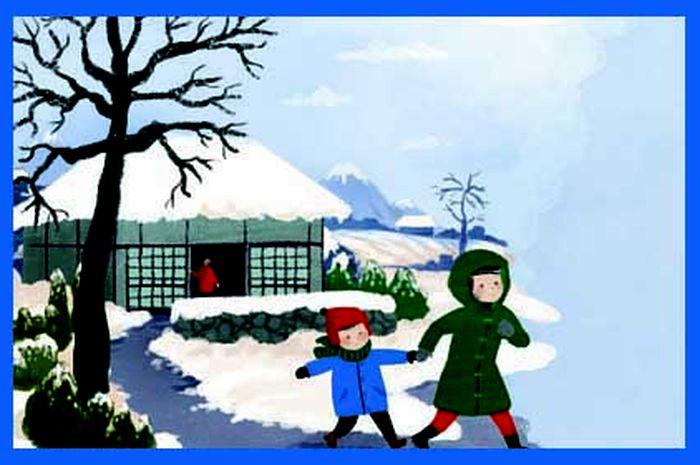 Karena hari cerah, Bu Haruko mengijinkan kedua anaknya, Eiko dan Haruo, pergi ke rumah bibi mereka.