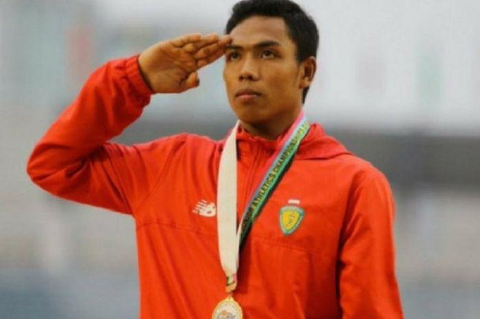 Sprinter Indonesia, Lalu Muhammad Zohri, saat tampil sebagai pemenang Kejuaraan Atletik Dunia U-20 2018 yang berlangsung di Tampere, Finlandia.