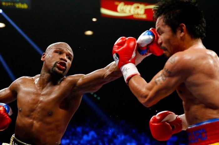 Pertarungan antara Mayweather vs Pacquiao di MGM Grand, Las Vegas, Amerika Serikat, pada 2 Mei 2015.