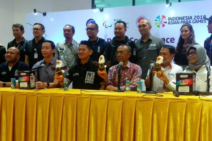 Panitia Pelaksana Asian Para Games 2018 (Inapgoc) menggelar konferensi pers di GBK Arena, Senayan, Jakarta, Kamis (20/9/2018).