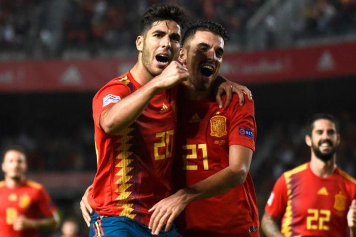 Pemain Spanyol, Marco Asensio, melakukan selebrasi setelah mencetak gol ke gawang Kroasia pada pertandingan Liga A Grup 4 UEFA Nations League di Stadion Martinez Valero, Selasa (11/9/2018) waktu setempat atau Rabu dini hari WIB,