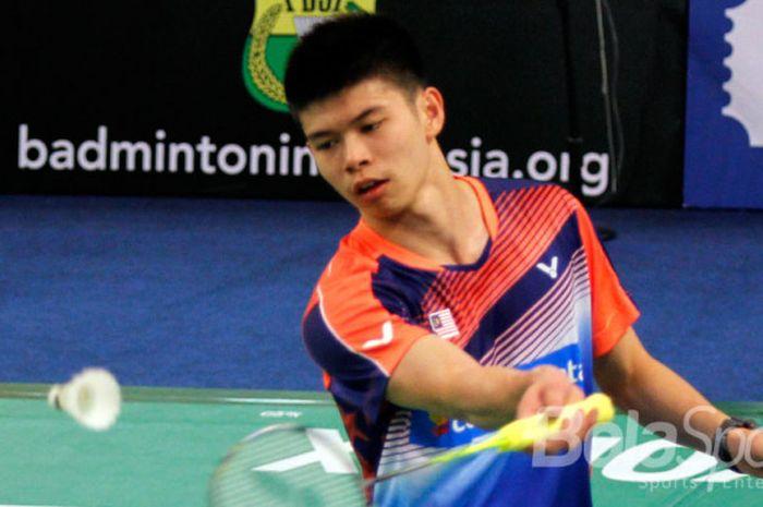 Tunggal putra Malaysia  Leong Jun Hao dalam Kejuaraan Dunia Junior 2017.