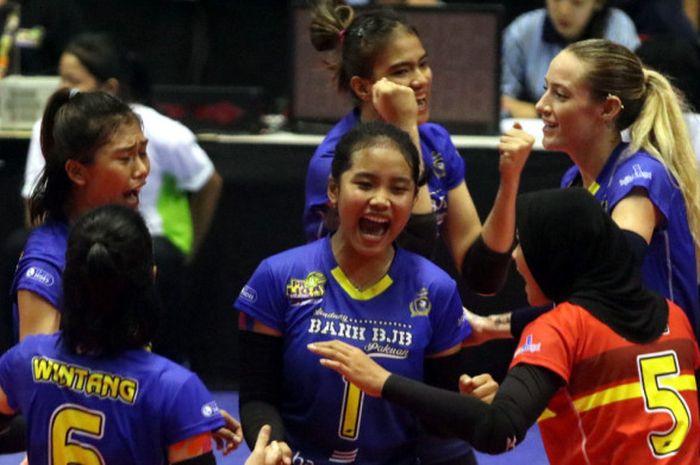 Ekspresi beberapa pemain putri Bandung Bank BJB Pakuan saat menjalani laga perdana Proliga 2019 kont