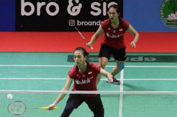 Pasangan ganada putri, Febriana Dwipuji Kusuma/Ribka Sugiarto, saat tampil di turnamen Bangka Belitung Indonesia Masters 2018.