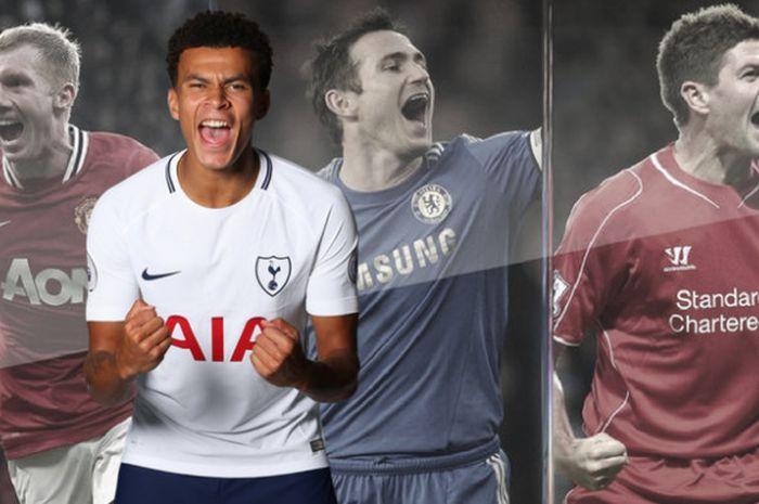 Grafis pemain Tottenham Hotspur, Dele Alli, dan tiga legenda sepak bola Inggris, Paul Scholes, Frank Lampard, dan Steven Gerrard.