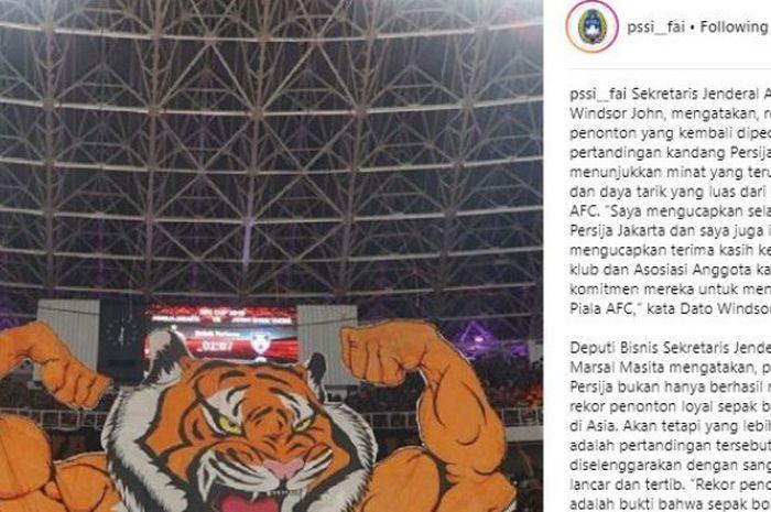 Koreografi Macan Raksasa The Jakmania di Instagram resmi PSSI