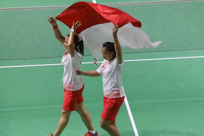 Selebrasi pasangan ganda putri Indonesia, Leani Ratri Oktila/Khalimatus Sadiyah, seusai mengalahkan