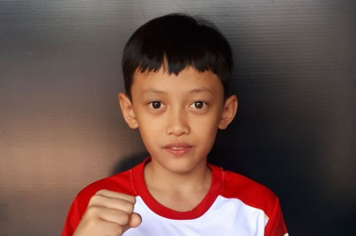 Dendi Triansyah, salah satu peserta Audisi Umum Djarum Beasiswa Bulu Tangkis 2018 di GOR Bima, Cirebon.
